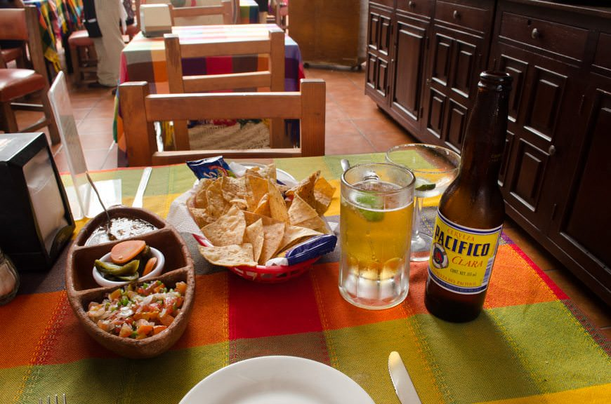 Zona Dorada is also all about lunch! One of the reasons I love Mexico: great food and great beer. Photo © 2015 Aaron Saunders