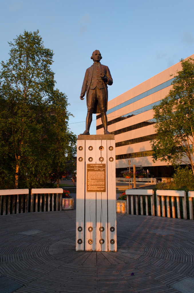 Captain Cook himself, in statue form, in Anchorage's Resolution Park. Photo © 2015 Aaron Saunders