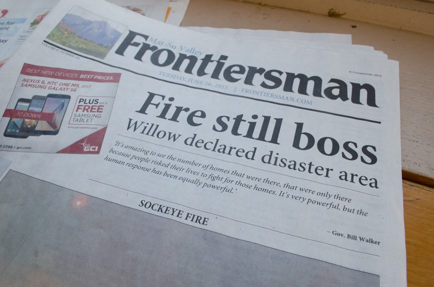 The fire is still making the local news...though the headline strikes me as more interesting. Photo © 2015 Aaron Saunders