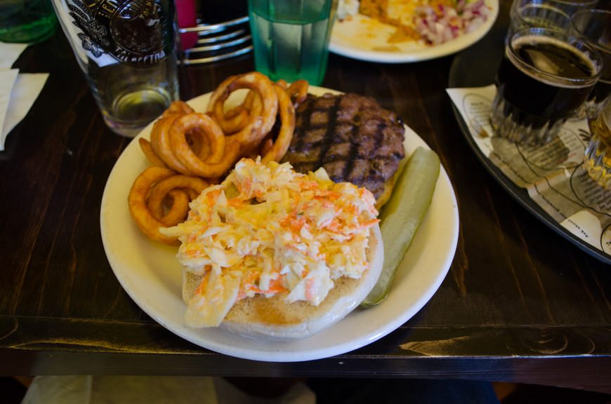 "Of course, no beer is complete without good food. Here, we have the ""I Can See Russia"" burger, a nod to Sarah Palin's famous gaffe about being able to view Russia from her home in Wasilla. Photo © 2015 Aaron Saunders"