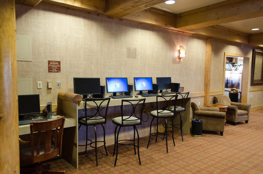 The Mt. McKinley Princess Wilderness Lodge may be in the middle of nowhere, but that doesn't mean you have to be, too. The lodge is equipped with Wi-Fi and internet work stations. Photo © 2015 Aaron Saunders
