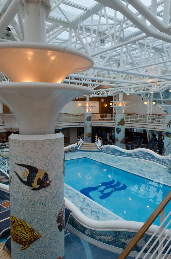The Indoor Pool, The Conservatory, spans Decks 14 and 15. Photo © 2015 Aaron Saunders