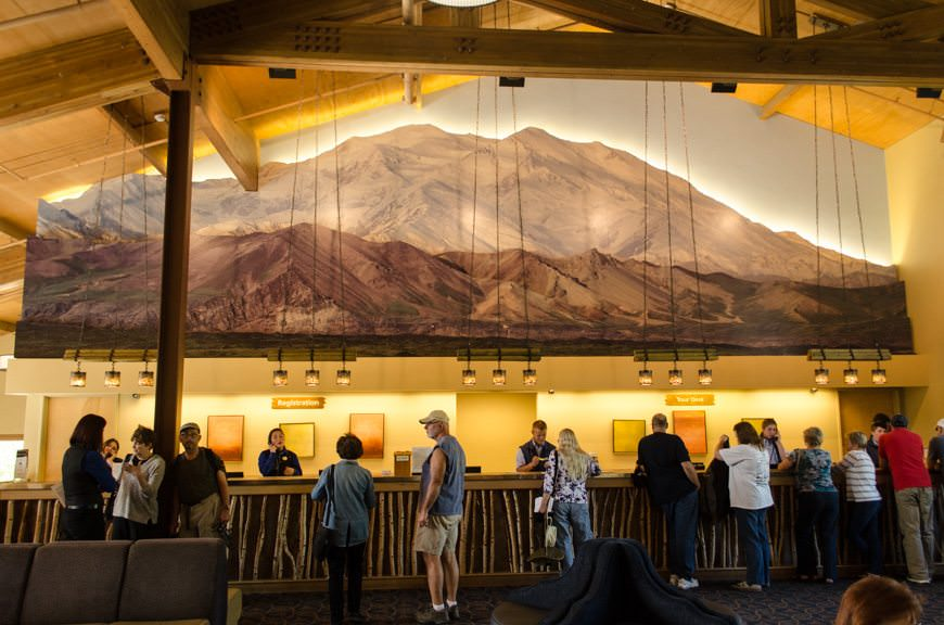 Reception area in the main lodge at the Denali Princess Wilderness Lodge. Photo © 2015 Aaron Saunders
