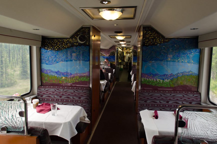 On the bottom level of our Gold Star car is the attractive dining salon, which features better food than you might expect. Photo © 2015 Aaron Saunders