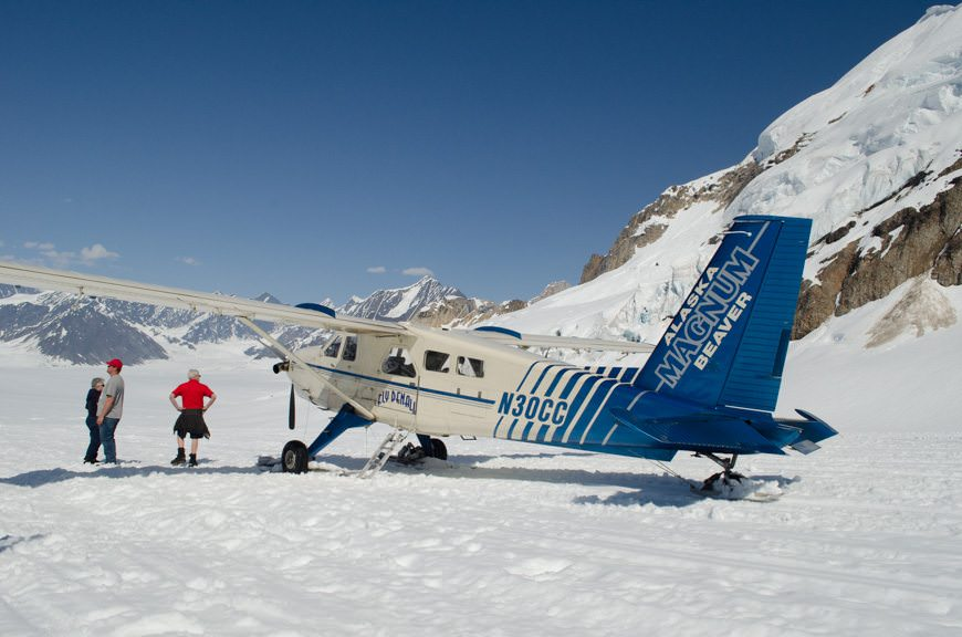 "Our aircraft ""parked"" on the glacier, located near Mt. McKinley. Photo © 2015 Aaron Saunders"