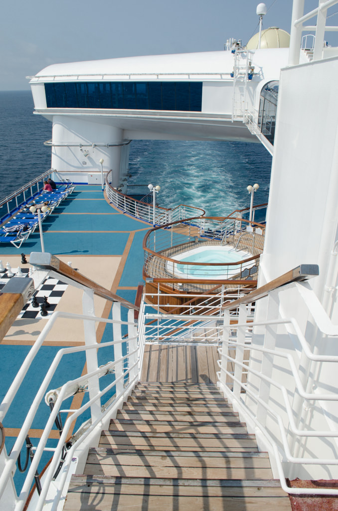 "Skywalkers on Deck 17 - shown here as the ""handle"" that spans the stern of the ship -is an ideal vantage point. Photo © 2015 Aaron Saunders"