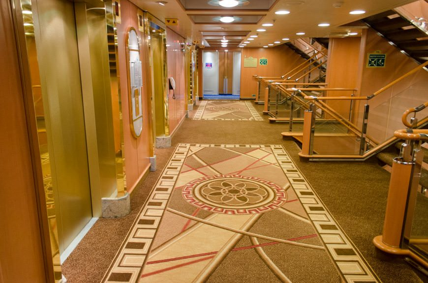 New carpeting and colour schemes in the forward stairwell and elevator lobby. Photo © 2015 Aaron Saunders