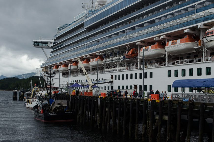 Star Princess had prime docking space in Ketchikan this morning, tying up at Berth 1 - just steps from the heart of the city. Photo © 2015 Aaron Saunders