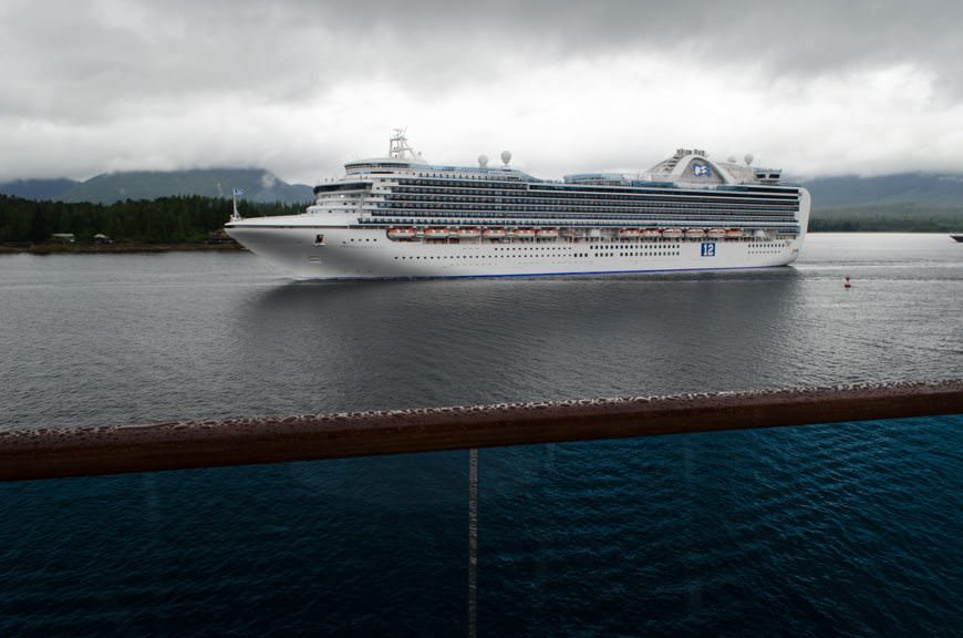 Another Beautiful Princess: Crown Princess (2006) departs Ketchikan on June 25, 2015. Photo © 2015 Aaron Saunders