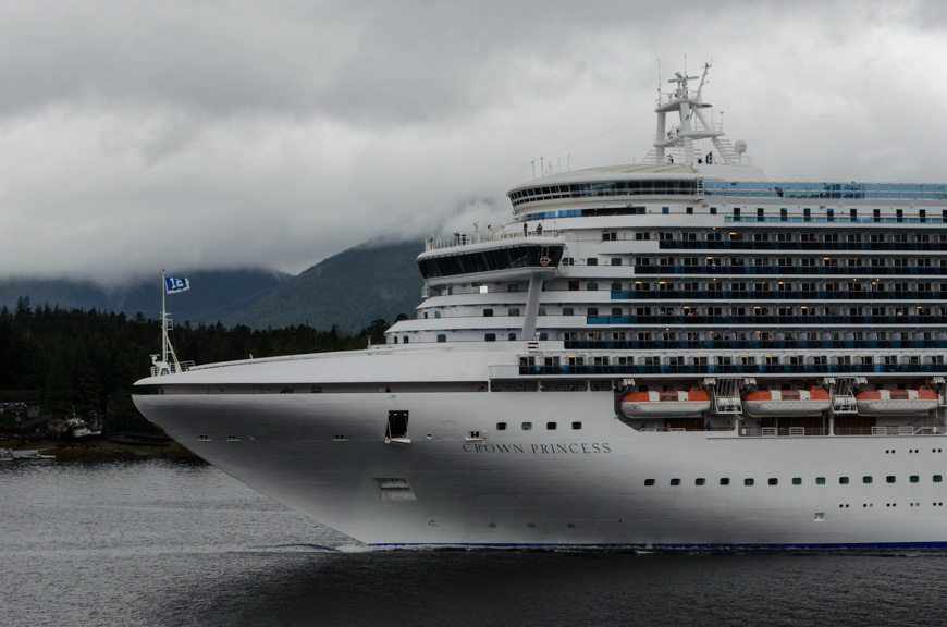 Princess Cruises' Crown Princess departs Ketchikan, Alaska on a moody afternoon. Photo © 2015 Aaron Saunders