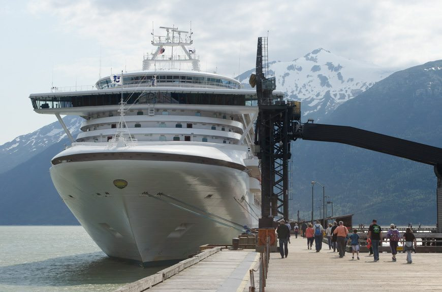 Star Princess at her berth at Skagway's Ore Dock on June 23, 2015. Photo © 2015 Aaron Saunders