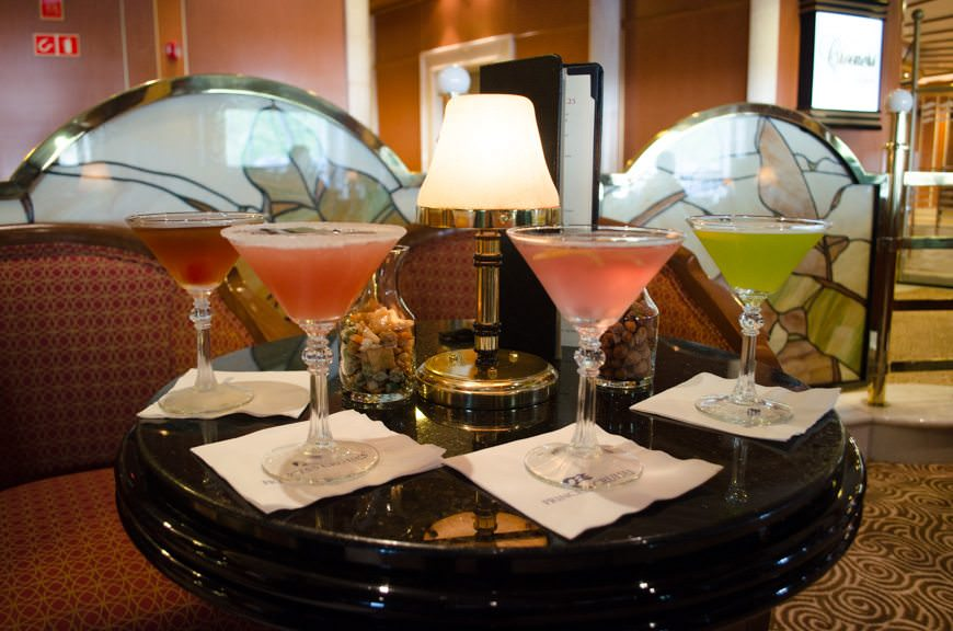 Martini tasting in Crooners on Deck 7. Who's thirsty?! Photo © 2015 Aaron Saunders