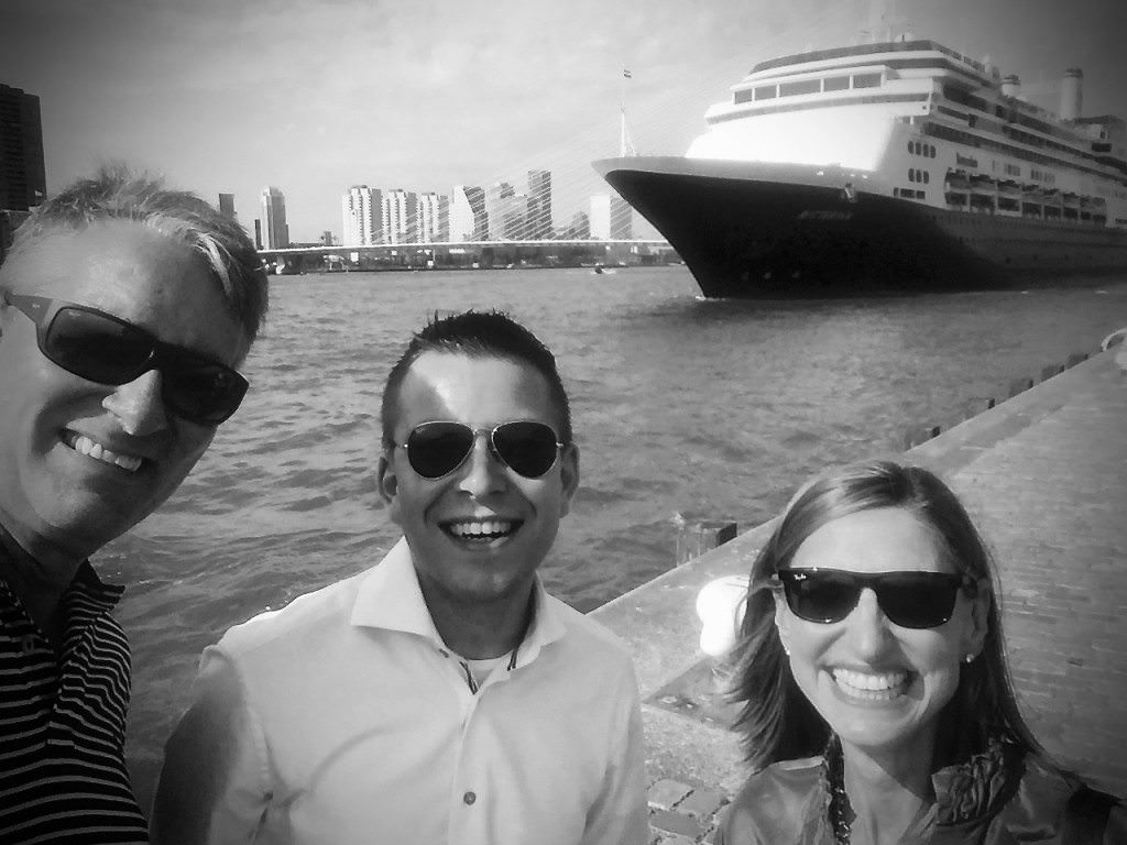 With Rotterdam Cruise Director Michael Langley and Holland America Line's Jerrol Golden. © 2015 Ralph Grizzle