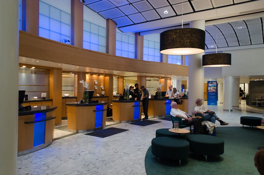 The reception lobby of the Radisson Blu Scandinavia is cool and inviting. Photo © 2015 Aaron Saunders