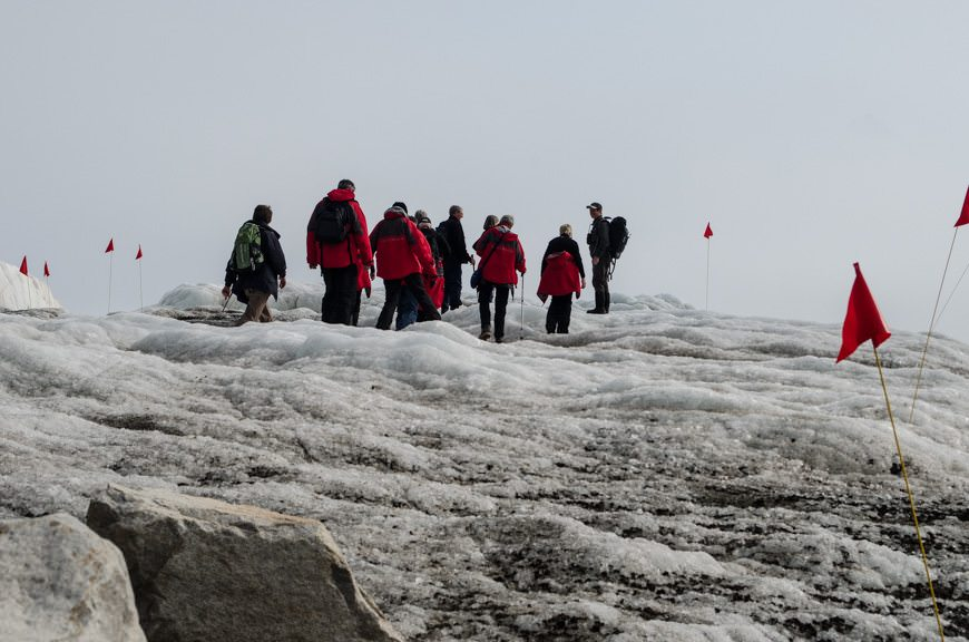 The first guests finally arrive on the glacier... Photo © 2015 Aaron Saunders
