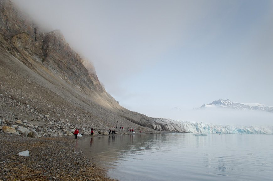 Guests from the Silver Explorer make their way back down from the 14th July Glacier. Photo © 2015 Aaron Saunders
