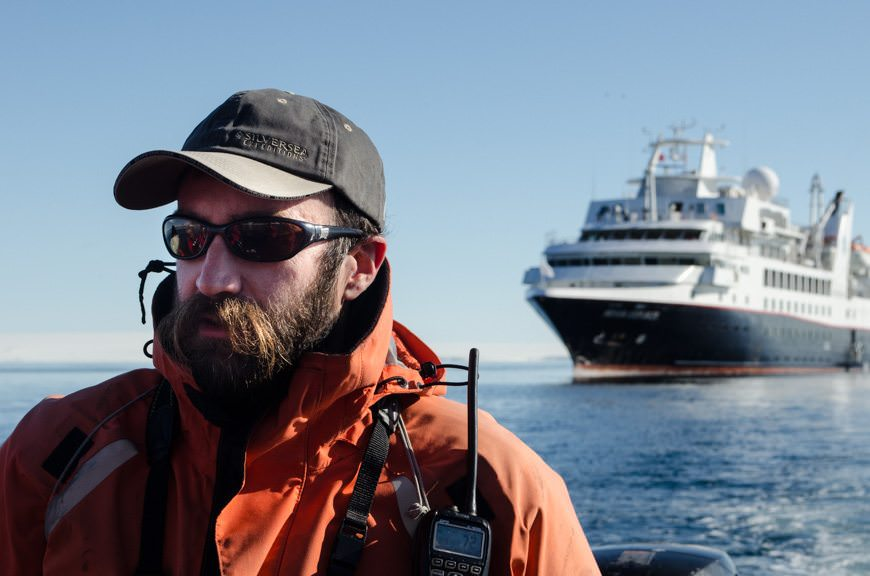 Expedition Team member Luke served as our Zodiac driver and guide extraordinaire this morning. Photo © 2015 Aaron Saunders