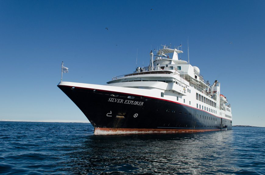 Silversea's sturdy Silver Explorer on a beautiful, sunny day. Photo © 2015 Aaron Saunders