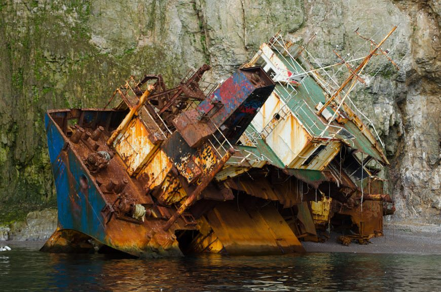 This ship ran aground, Exxon Valdez-style, in 2009. The destruction in six years is astonishing. Photo © 2015 Aaron Saunders