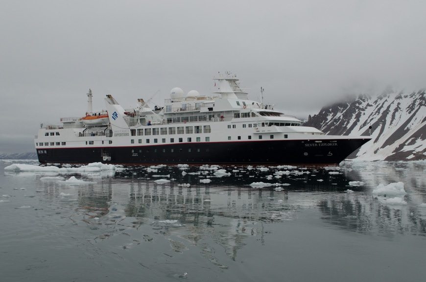 Silversea's Silver Explorer amongst the ice in Burgerbukta, Svalbard. Photo © 2015 Aaron Saunders