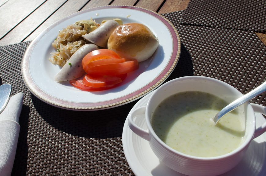 ...who wants to eat outside? Especially considering German Chef Pia served up some typically German specialties! Photo © 2015 Aaron Saunders