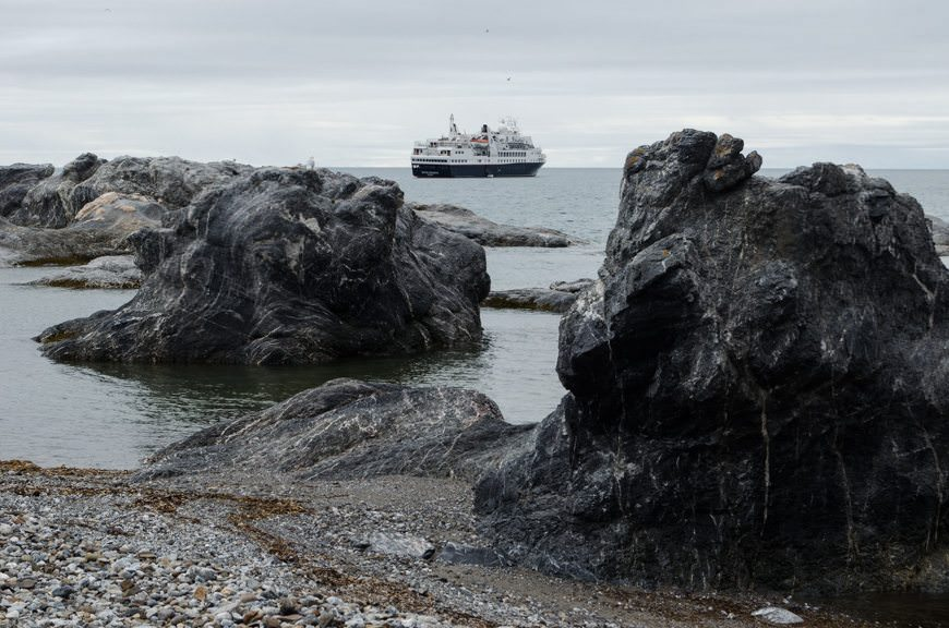 Silversea Expedition's Silver Explorer at anchor off Gnalodden, Svalbard on July 5, 2015. Photo © 2015 Aaron Saunders