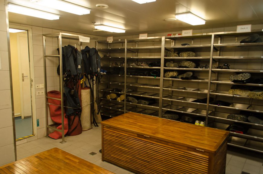 Back onboard, your rubber boots can be stored in the Mud Room on Deck 3. Photo © 2015 Aaron Saunders