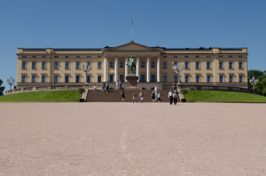One Day In Oslo: a short stopover en-route to Tromso, Norway and the waiting Silver Explorer tomorrow. Shown here is Oslo's Royal Palace, at the foot of Karl Johans Gate. Photo © 2015 Aaron Saunders