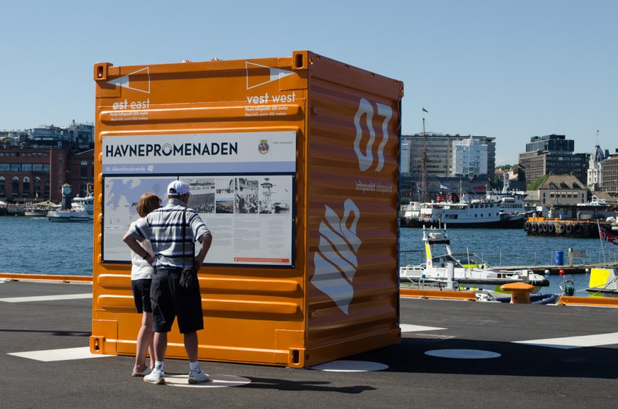 Directions in the inner harbour of Oslo are printed on scaled-down shipping containers. Photo © 2015 Aaron Saunders