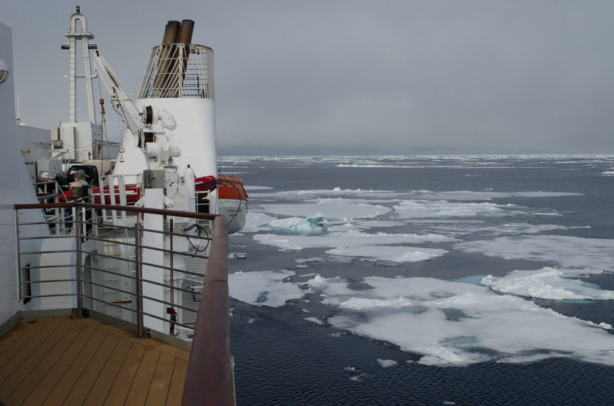 The pack ice from the balcony of my suite. I don't use it a lot here in the Arctic, but it is very useful for photography purposes. Photo © 2015 Aaron Saunders
