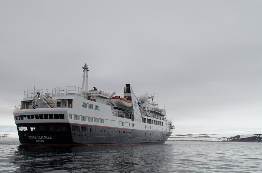 Returning to the elegant Silver Explorer after an adventurous morning ashore. Photo © 2015 Aaron Saunders