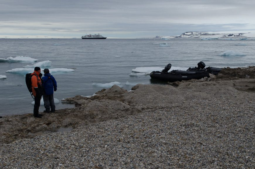 This morning, we came ashore in Torellneset, Svalbard for a hike. Photo © 2015 Aaron Saunders