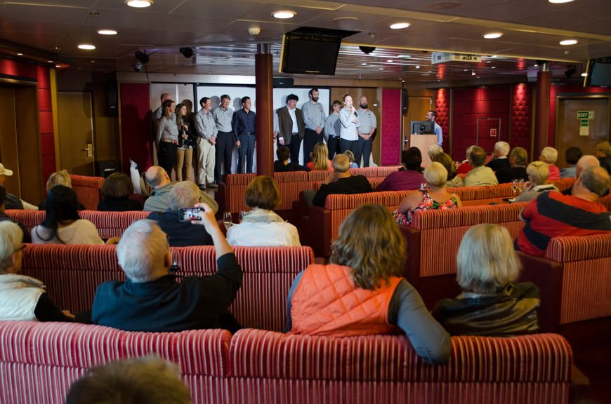 Guests aboard the Silver Explorer attend our first daily Expedition Briefing. Photo © 2015 Aaron Saunders