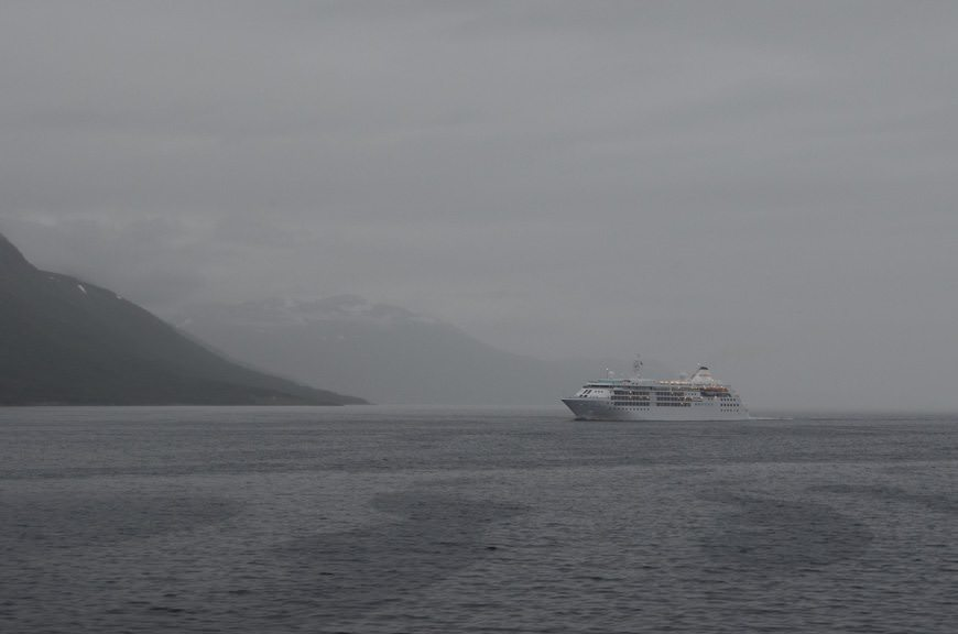 ...and Silversea's own elegant Silver Cloud, en-route to Kristiansund. Photo © 2015 Aaron Saunders