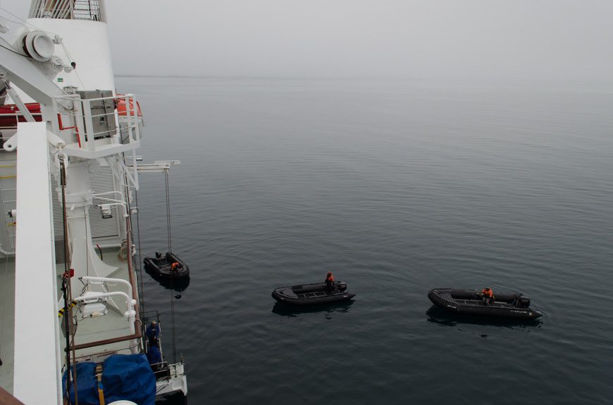 With a bear sighted on a nearby island, Silver Explorer's Zodiacs were quickly lowered to the water. Guests embarked shortly after, and we were off! Photo © 2015 Aaron Saunders