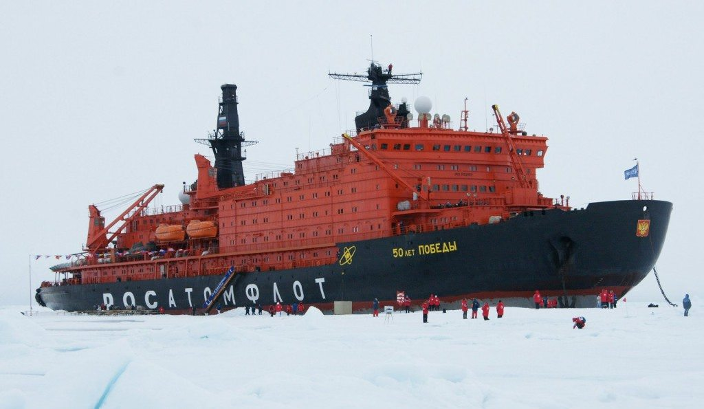 Traditionally, most expedition cruises were conducted aboard ex-Russian icebreakers, like the nuclear-powered 50 Years of Victory. Photo courtesy of Wikipedia / Creative Commons