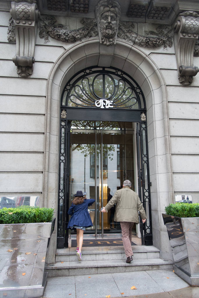 """Instead, a simple entrance - adorned with the word """"One"""" - serves as the gateway to this fantastic London hotel. Photo © 2015 Aaron Saunders"""