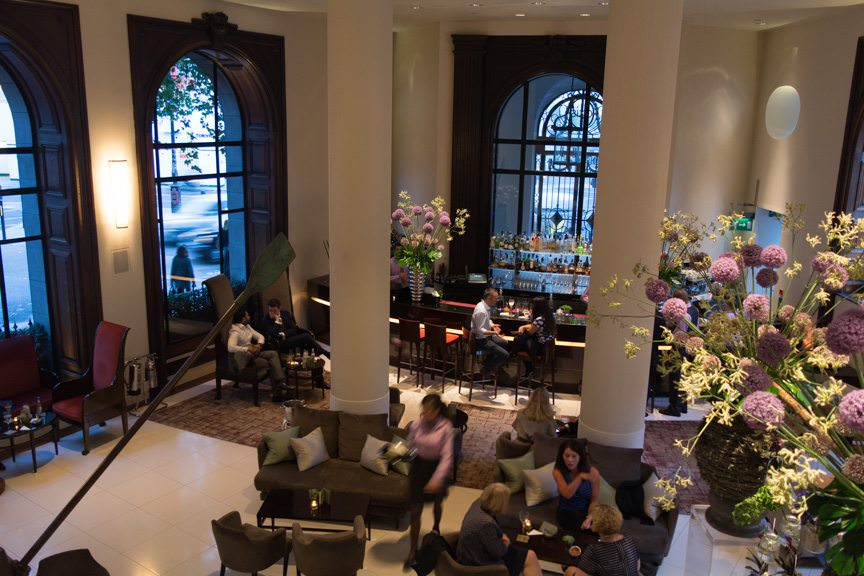 Overlooking the Lobby Bar at One Aldwych, London. Photo © 2015 Aaron Saunders