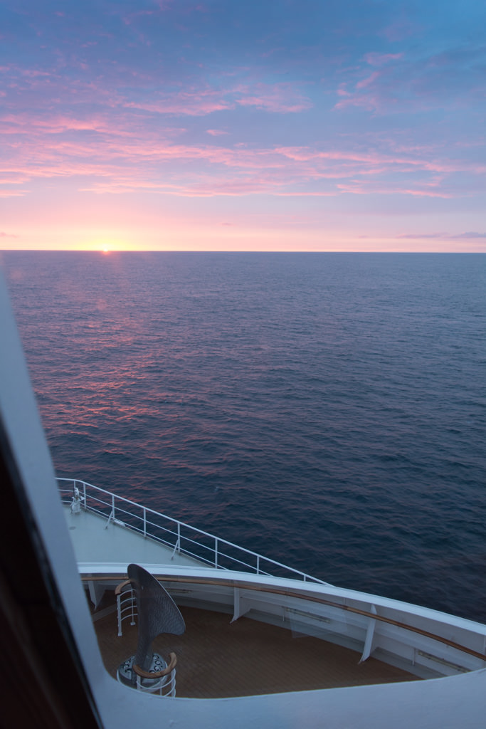 For those who saw it, guests tonight were treated to the most gorgeous sunset of the voyage. Photo © 2015 Aaron Saunders
