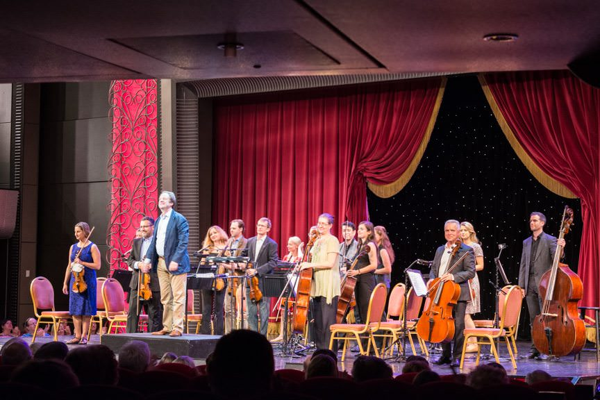 Inglis (in blue) and the National Symphony Orchestra.  Photo © 2015 Aaron Saunders
