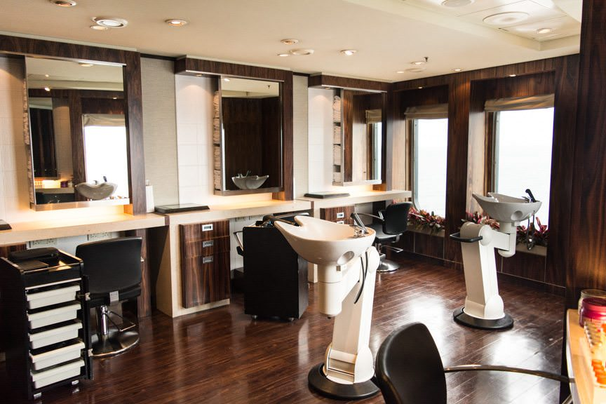 Time for a hair cut! I ventured up to the Canyon Ranch Spa's Hair Salon on Deck 8, port side, for a much-needed hair cut. Photo © 2015 Aaron Saunders