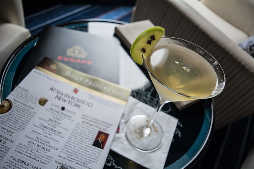 Enjoying a Four Leaf Clover Martini this afternoon in the Commodore Club, Deck 9 forward. Photo © 2015 Aaron Saunders