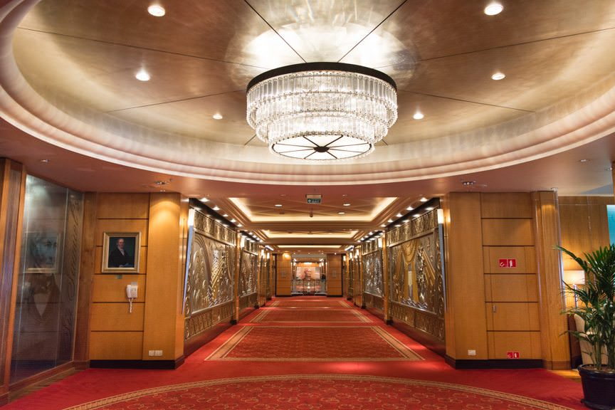 With opulence like this, it's hard to believe you're on a ship at all. Fortunately, designer Stephen Payne has included plenty of natural light and sea views in every single public room aboard Queen Mary 2.  Photo © 2015 Aaron Saunders