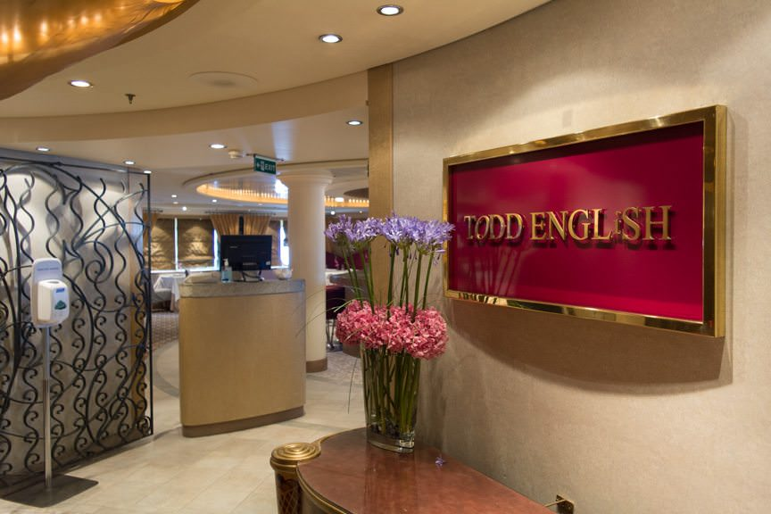 Welcome to Todd English, Queen Mary 2's specialty restaurant located on Deck 8 aft. Photo © 2015 Aaron Saunders