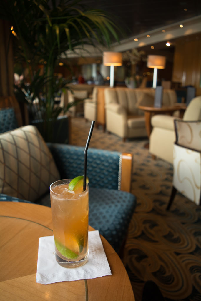 Enjoying a cocktail this afternoon in the most popular lounge on the ship, the Chart Room on Deck 3. Photo © 2015 Aaron Saunders