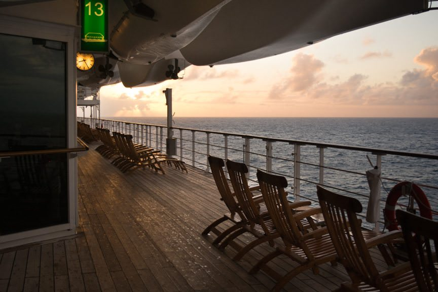 ...around Queen Mary 2's Promenade Deck at Sunset. Photo © 2015 Aaron Saunders