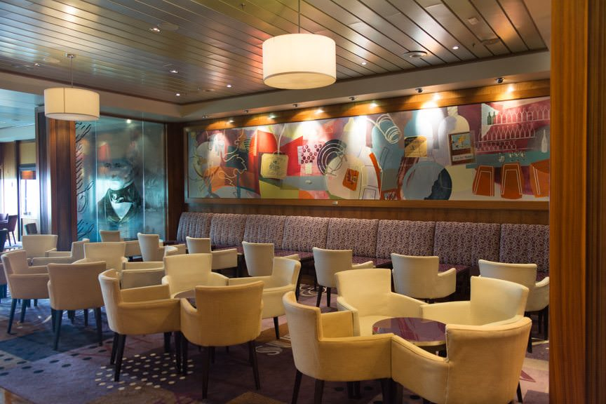 Also on Deck 3 - and across the corridor from the Chart Room - is Sir Samuel's, a coffee bar by day and a wine bar by night. The room is named in honor of Cunard's founder, Sir Samuel Cunard. Photo © 2015 Aaron Saunders