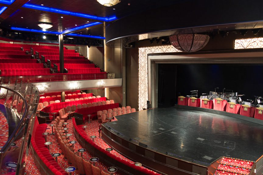 Moving forward on Deck 3, we come to the Royal Court Theatre, where Queen Mary 2's onboard nightly performances are held. Photo © 2015 Aaron Saunders