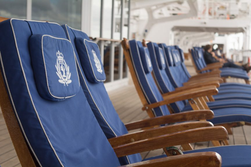 Up on Promenade Deck 7, hundreds of lounge chairs are available for the taking. Photo © 2015 Aaron Saunders