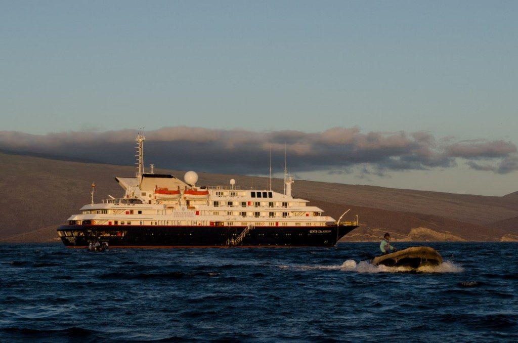 Silversea has since added two other luxury expedition ships to their fleet: Silver Galapagos, pictured above in the Galapagos Islands; and Silver Discoverer, which calls the Pacific her year-round home. Photo © 2014 Aaron Saunders